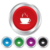 Coffee cup sign icon. Hot coffee button. Royalty Free Stock Photos