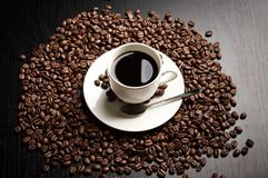Coffee cup with sign yin-yang view from above Stock Photos
