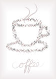 Coffee cup silhouette of beans Royalty Free Stock Photography