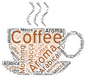 Coffee Cup Silhouette: Word Cloud Tag. Vector Illustration of a cup of hot coffee shaped with words coffee, morning, aroma, arabica and mocca Royalty Free Stock Image