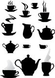 Coffee cup silhouettes stock images