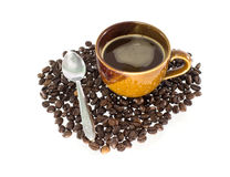 Coffee cup with silver spoon Royalty Free Stock Photography