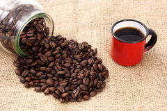 Coffee, cup and sizal royalty free stock image