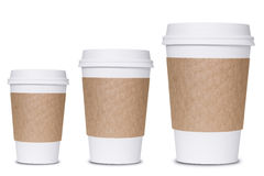 Coffee cup sizes. Isolated on white background stock photography