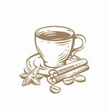 Coffee cup sketch. Vector template on white Stock Photos