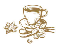 Coffee cup sketch. Vector template on white Royalty Free Stock Photo