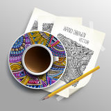 Coffee cup on sketches concept idea Royalty Free Stock Photo
