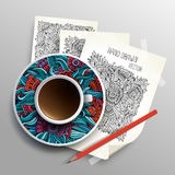Coffee cup on sketches concept idea Royalty Free Stock Photos