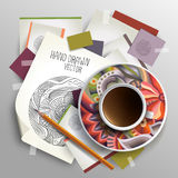 Coffee cup on sketches and paper concept idea Stock Photo