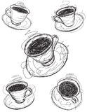 Coffee cup sketches Royalty Free Stock Photos