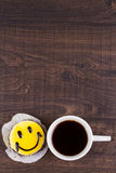 Coffee cup and smile cake. Royalty Free Stock Image