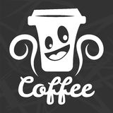 Coffee cup smile vector icon template for cafe Royalty Free Stock Photos