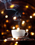 Coffee cup with smoke Royalty Free Stock Photos