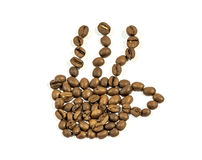 Coffee cup with smoke made from coffee bean on white Stock Image