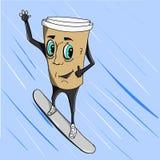 Coffee cup on snowboard Stock Photo