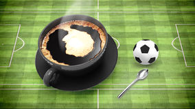 Coffee cup with soccer Stock Image