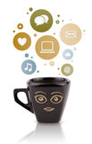 Coffee cup with social and media icons in colorful bubbles Stock Photography