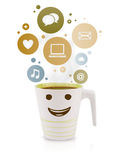 Coffee cup with social and media icons in colorful bubbles Stock Image