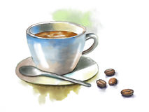 Coffee cup. And some coffee beans. Original watercolor illustration royalty free illustration
