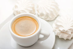 Coffee cup with souffle Stock Photo