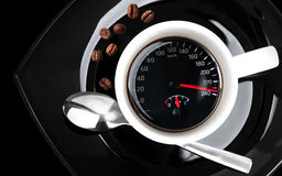 Coffee cup with speedometer Royalty Free Stock Photos