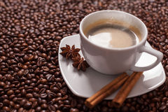 Coffee cup with spices Royalty Free Stock Image