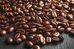 Coffee cup, spices and chocolate on wooden table texture with co. Py space stock image