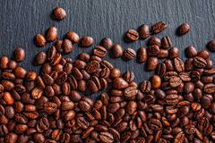 Coffee cup, spices and chocolate on wooden table texture with co. Py space royalty free stock photos