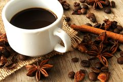 Coffee cup with spices taste and aroma Stock Images