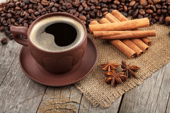 Coffee cup with spices Stock Photos