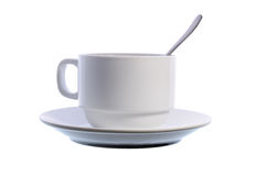 Coffee cup with a spoon. Isolated on a white background Stock Images