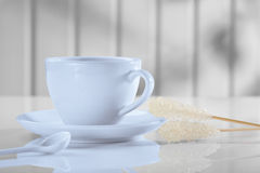 Coffee cup with spoon and sugar Royalty Free Stock Photography
