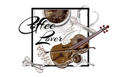 Coffee cup with a spoon and a violin. Cafe music. Hand drawn vector. T-shirt design for a coffee lover Royalty Free Stock Image