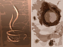 Coffee cup stain. Two backgrounds Stock Photo