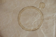 Coffee Cup Stain on Brown Crumpled Bag Royalty Free Stock Photography
