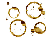Coffee cup stains on white Royalty Free Stock Image