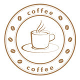 Coffee cup stamp Royalty Free Stock Images