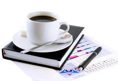 Coffee cup, standing on the organizer. Isolated Stock Photo