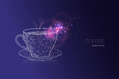 Coffee cup. starry night sky and line dot design. The concept of relaxing. suitable use for background, banner, poster, brochure etc. vector illustration Stock Photo