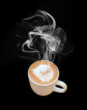 Coffee cup with steam. Isolate on black background Royalty Free Stock Photo