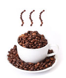 Coffee cup and steam made from beans Royalty Free Stock Photography