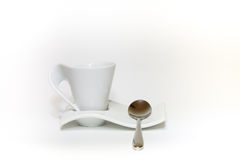 Coffee cup. With steel spoon and white background Stock Image