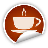 Coffee cup sticker Royalty Free Stock Images