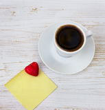 Coffee cup, sticker, heart Royalty Free Stock Photography