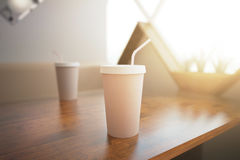 Coffee cup with straw Royalty Free Stock Images