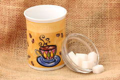 Coffee cup and sugar Stock Photos