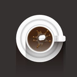 Coffee cup and a suger. A white coffee cup and a block suger royalty free illustration
