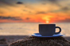 Coffee cup and sunset Royalty Free Stock Photography