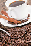 Coffee cup surrounded by coffee beans and scoop. Royalty Free Stock Photos