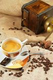Coffee cup surrounded by coffee grains Stock Image
